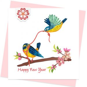 Quilling-card-15x15cm-Happy-New-Year-Lucky-Birds-VN1NY115065E1- Quilling Arts - VIET NET - From Hands with Love