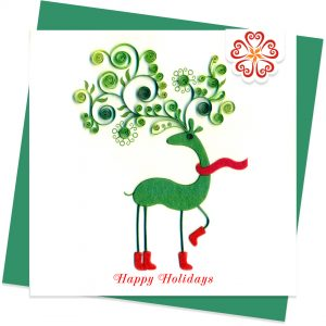 Happy-holidays-Quilling-card-15x15cm-Marry-Christmas-VN1XM115111E2- Quilling Arts - VIET NET - From Hands with Love