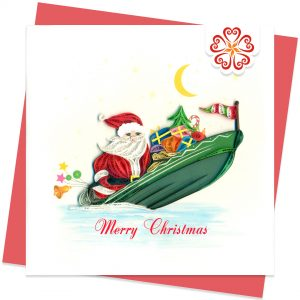 Santa, the sailor-Quilling-card-15x15cm-Marry-Christmas-VN1XM115155E2- Quilling Arts - VIET NET - From Hands with Love