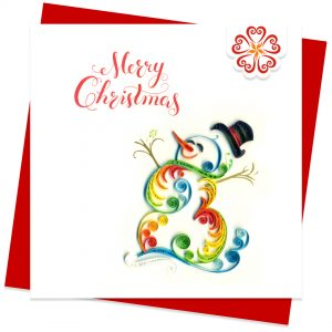 Quilled-Happy-Snowman-Quilling-card-15x15cm-Marry-Christmas-VN1XM115145E2- Quilling Arts - VIET NET - From Hands with Love