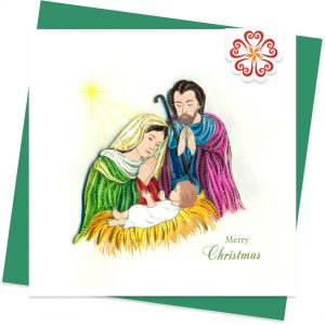 Quilled-Holy-Night-Quilling-card-15x15cm-Marry-Christmas-VN1XM115156E1- Quilling Arts - VIET NET - From Hands with Love