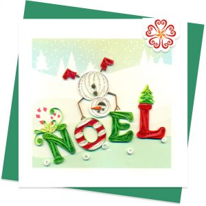 Quilled-Noel-&-Dancing-Snowman-Quilling-card-15x15cm-Marry-Christmas-VN1XM115152E1- Quilling Arts - VIET NET - From Hands with Love