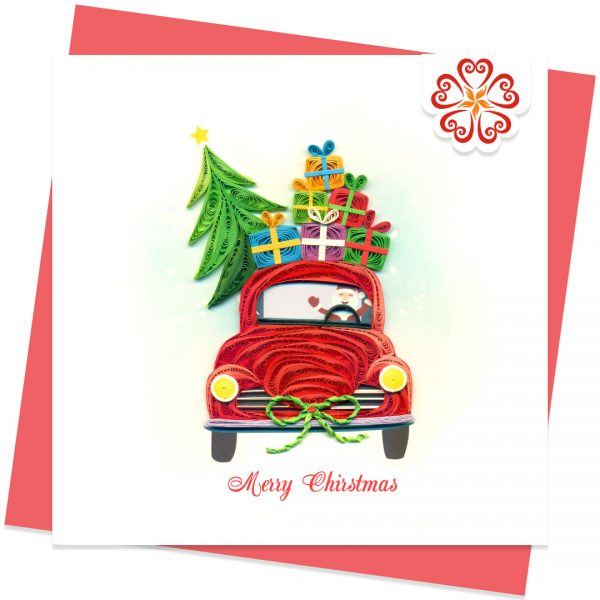 Quilling-card-15x15cm-Marry-Christmas-Modern-Santa-VN1XM115151E2- Quilling Arts - VIET NET - From Hands with LoveQuilling-card-15x15cm-Marry-Christmas-Modern-Santa-VN1XM115151E2- Quilling Arts - VIET NET - From Hands with Love