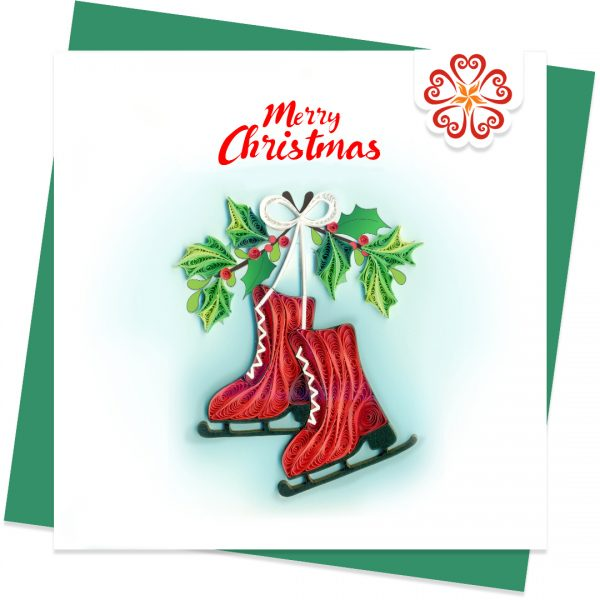 Quilling-card-15x15cm-Merry-Christmas-Quilled-Figure-Skate-VN1XM115143E2- Quilling Arts - VIET NET - From Hands with Love
