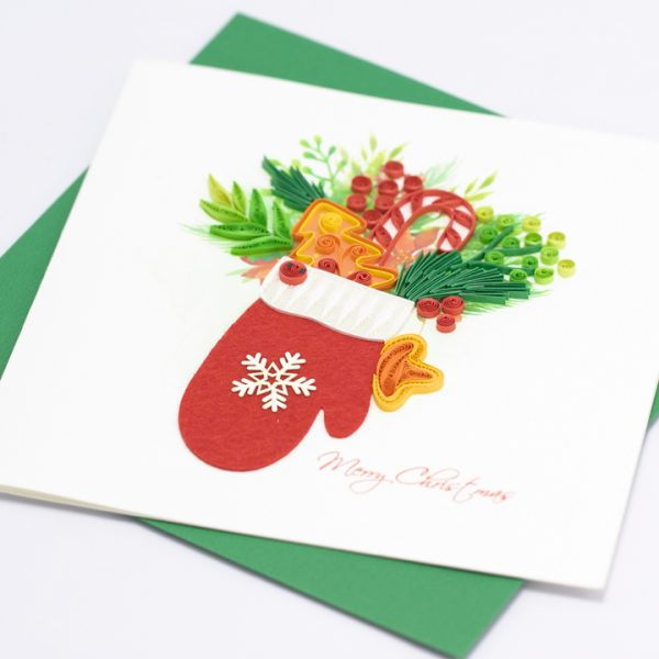 Quilling-card-15x15cm-Merry-Christmas-Quilled-Glove-VN1XM115141E2-02-- Quilling Arts - VIET NET - From Hands with Love