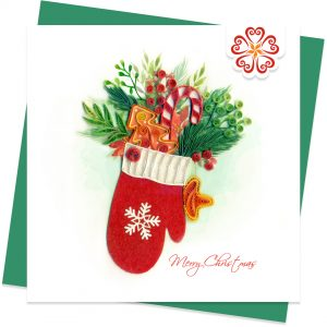Quilling-card-15x15cm-Merry-Christmas-Quilled-Glove-VN1XM115141E2- Quilling Arts - VIET NET - From Hands with Love