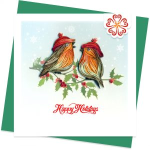 Red-hat-birds-Quilling-card-15x15cm-Marry-Christmas-VN1XM115124E2- Quilling Arts - VIET NET - From Hands with Love