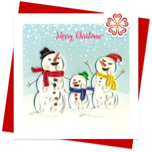 Snowman-family-Quilling-card-15x15cm-Marry-Christmas-VN1XM115153E2- Quilling Arts - VIET NET - From Hands with Love