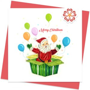 Surprise-present-Quilling-card-15x15cm-Marry-Christmas-VN1XM115154E2- Quilling Arts - VIET NET - From Hands with Love