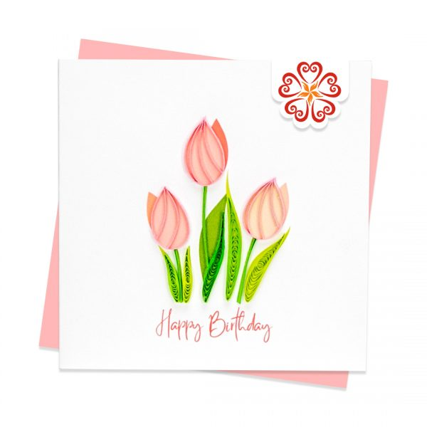 Quilling-Arts-Viet-Net-From-hand-with-love-Quilled-greeting-card-10x10cm-HPBD-tulip-flowers VN2XM110196NN