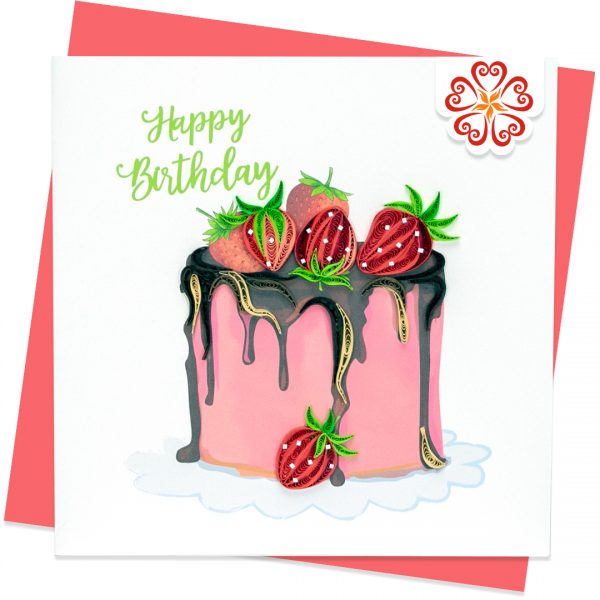 Quilling-Arts-Viet-Net-From-hand-with-love-Quilled-greeting-card-15x15cm-HPBD-Strawberry-Cake-1 VN2XM115A32E1
